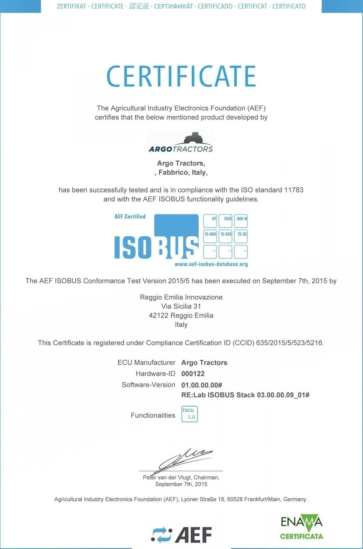 Argo Ttractors Obtains Isobus Certification Argo Tractors